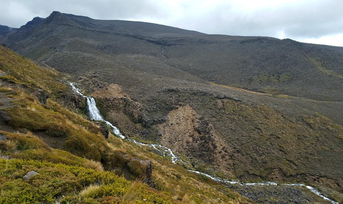 Waterfall near Oturere Hut on the Tongariro Northern Circuit