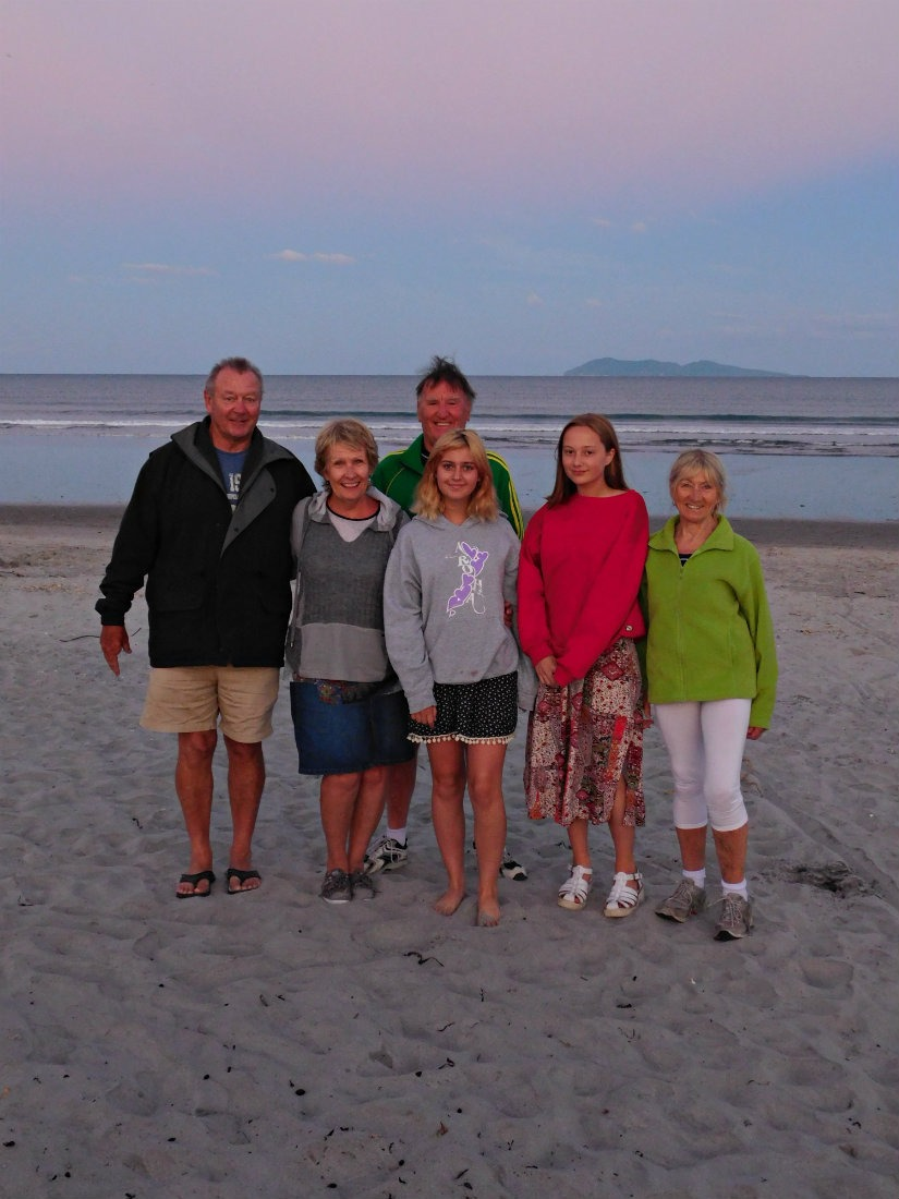 Hanging out with family at Waihi Beach during month thirty one of digital nomad life