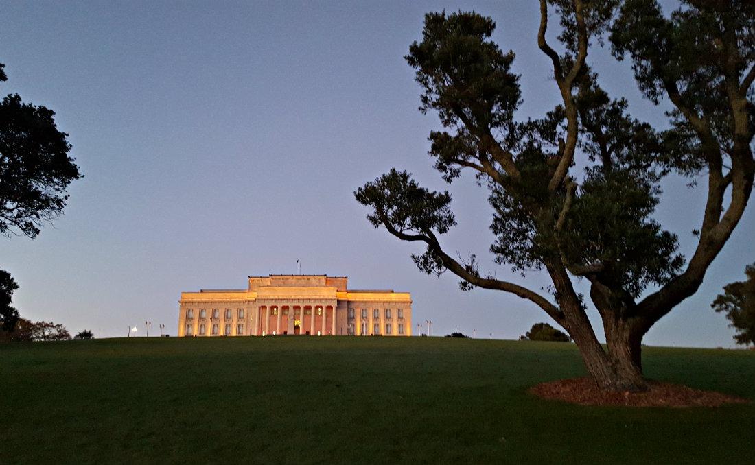 Auckland War Memorial Museum at sunrise, New Zealand