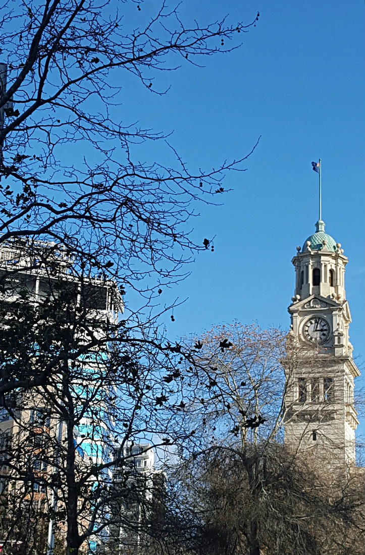 Clock tower in downtown Auckland, New Zealand