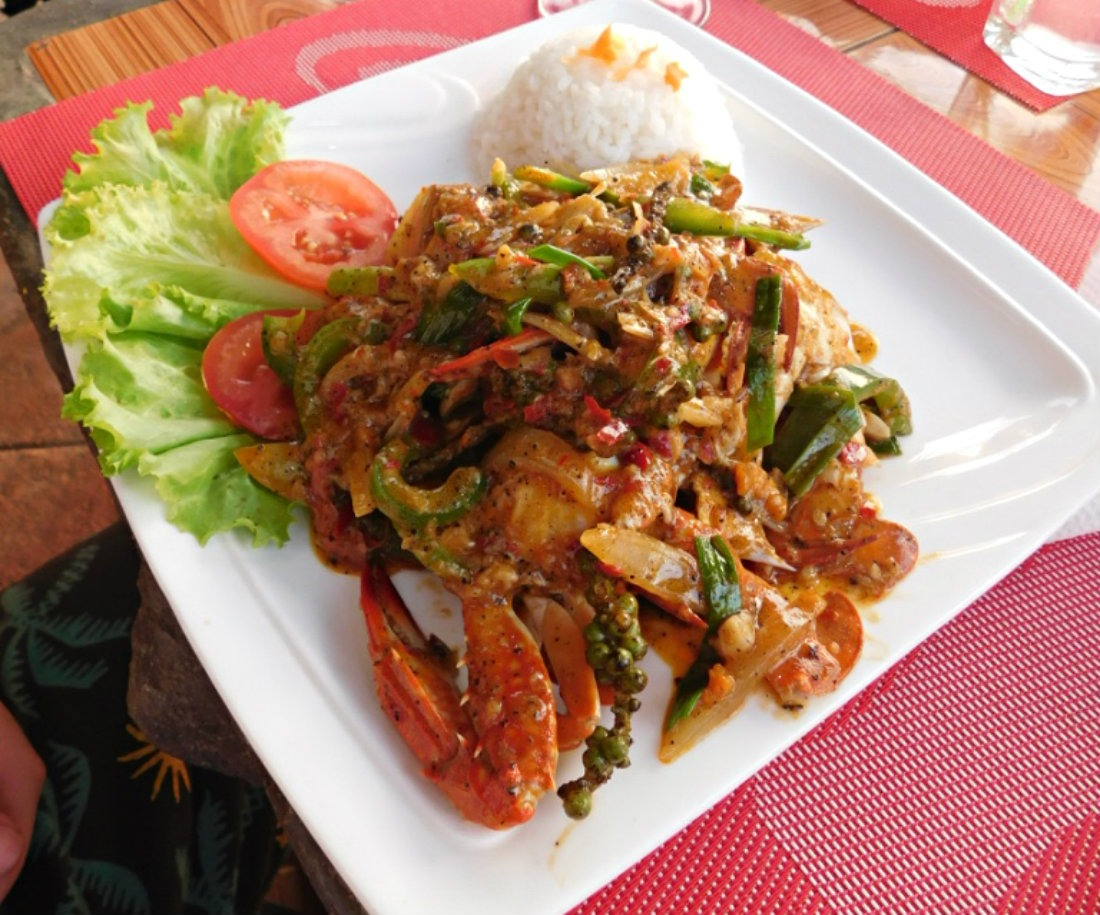 Eating Kampot green pepper crab in Kep - one of the best things to do in Kampot