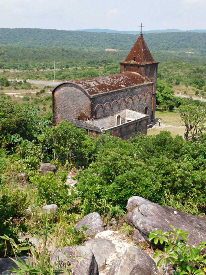 Ruins of a Catholic Church at Bokor Hill Station - one of the best things to do in Kampot