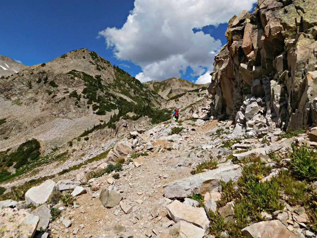 Hiking to the top of East Maroon Pass on the hike from Crested Butte to Aspen in Colorado