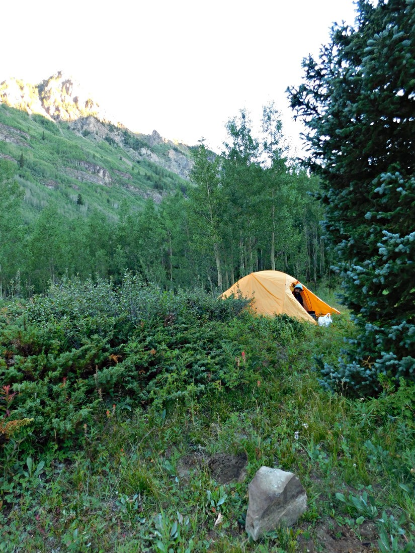 Backcountry camping on the East Maroon Pass trail hike from Crested Butte to Aspen