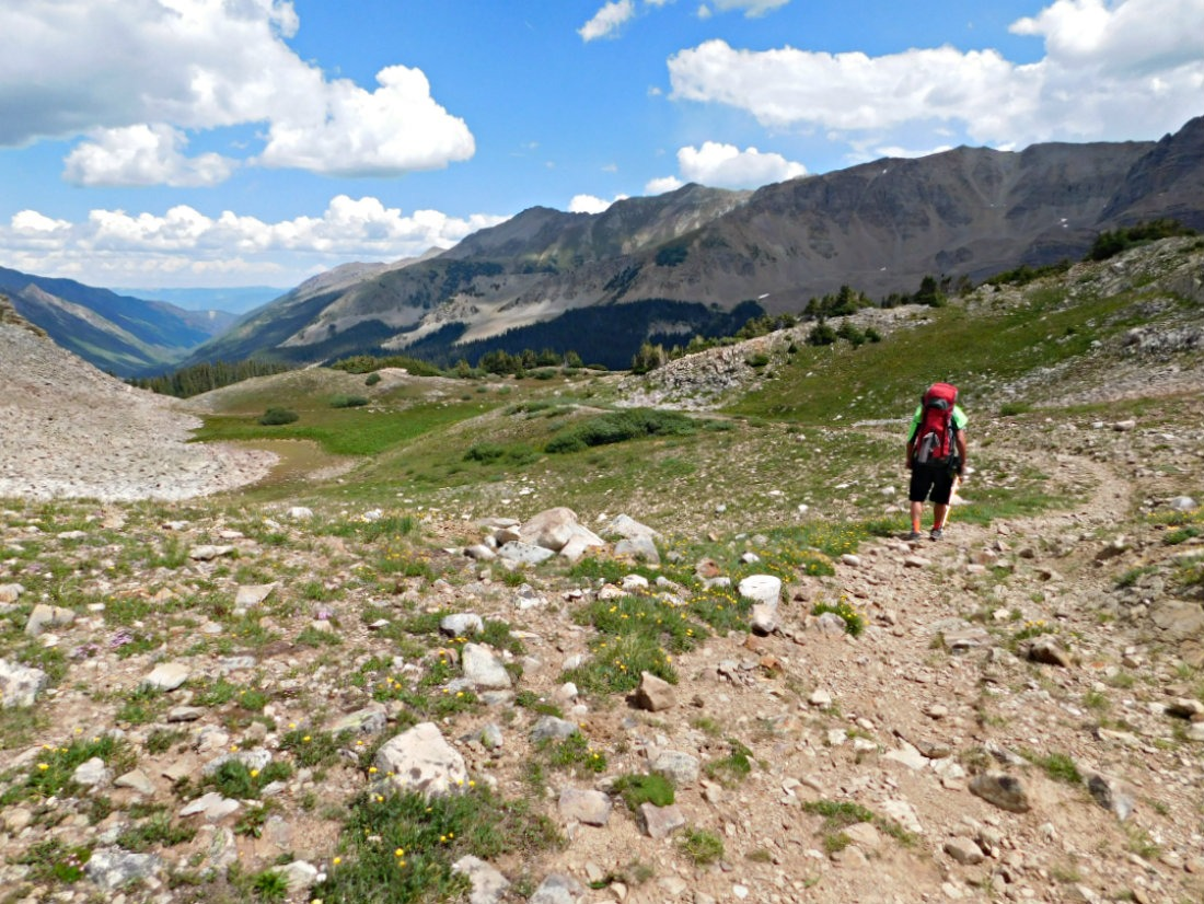 Descending the pass on the East Maroon Pass trail hike from Crested Butte to Aspen