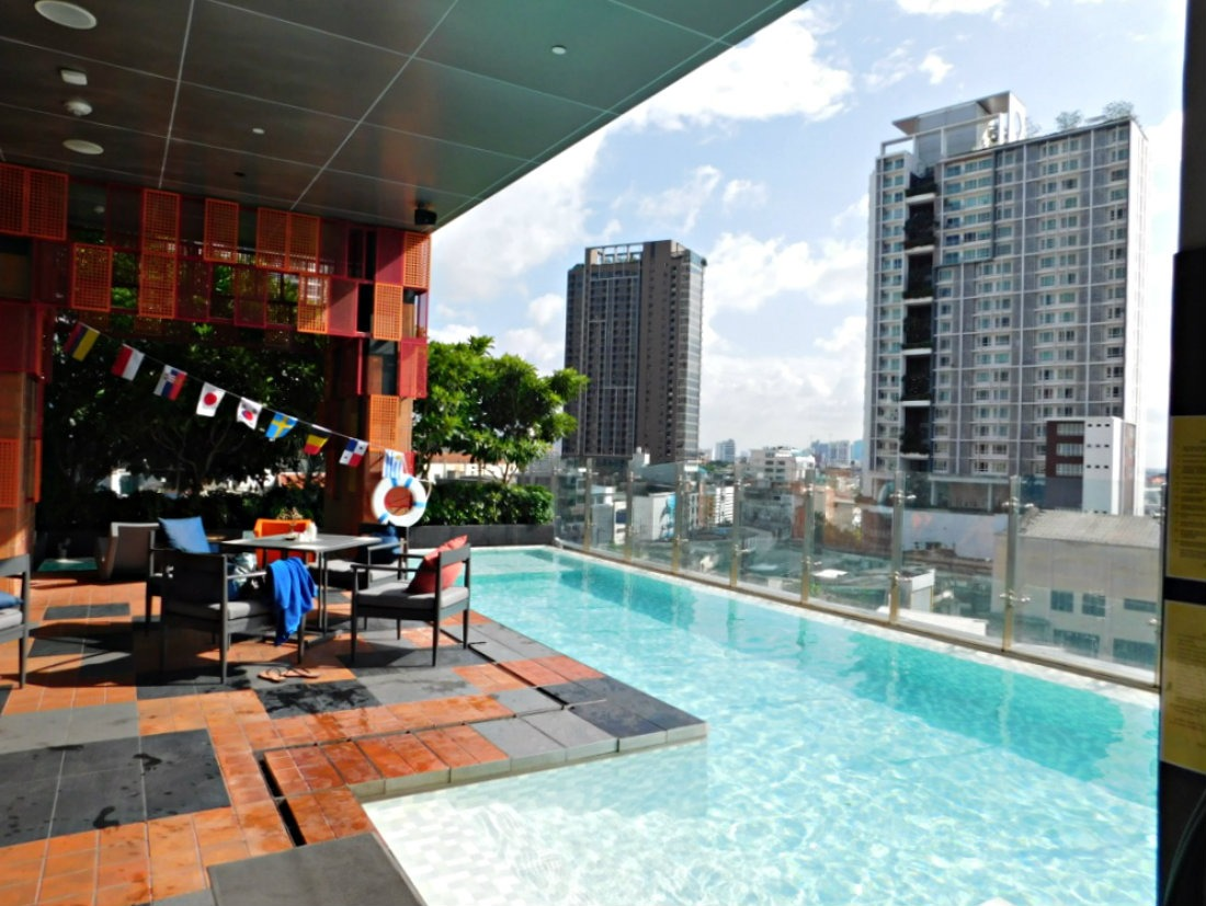 Hanging out at the pool at the Ibis Styles Hotel in Bangkok - a highlight of month thirty six of digital nomad life