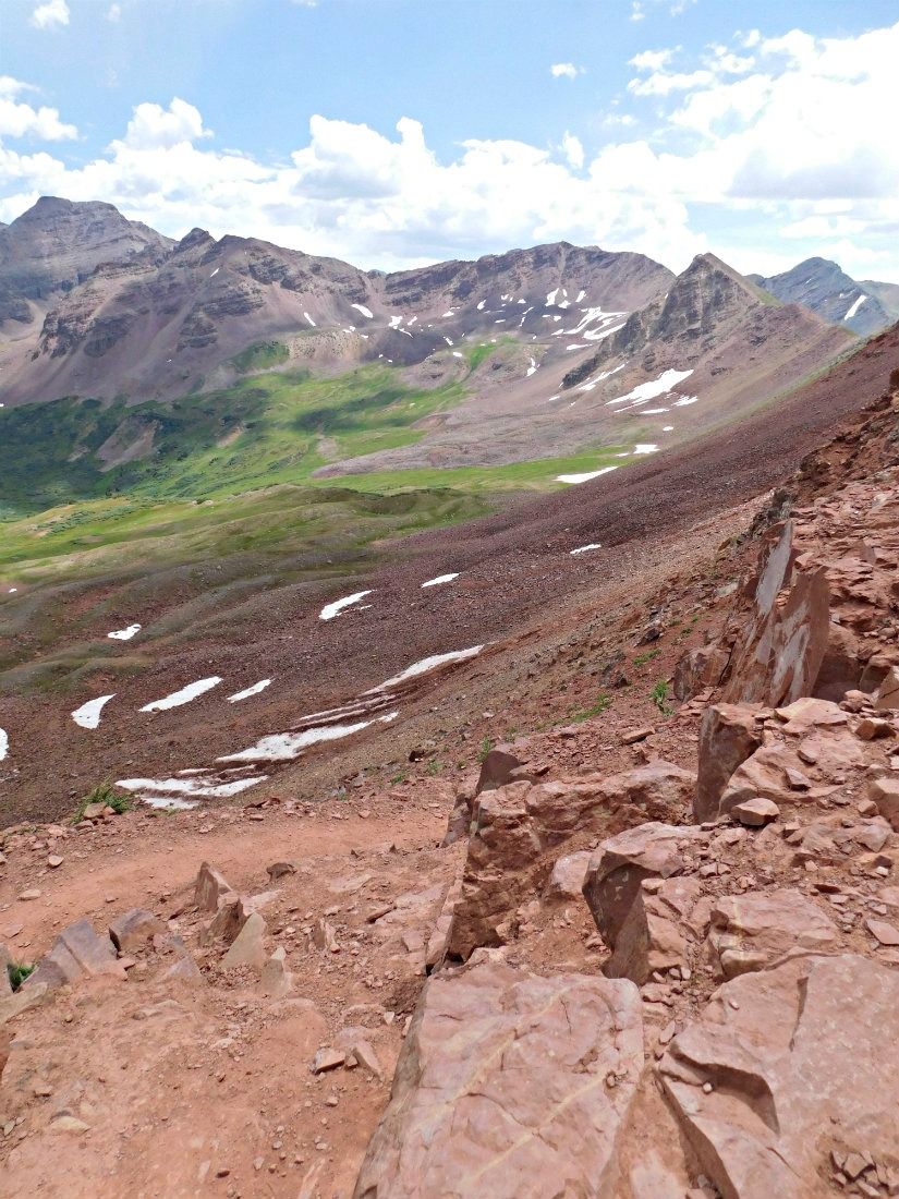 View from the top of West Maroon Pass on the hike from Aspen to Crested Butte in Colorado