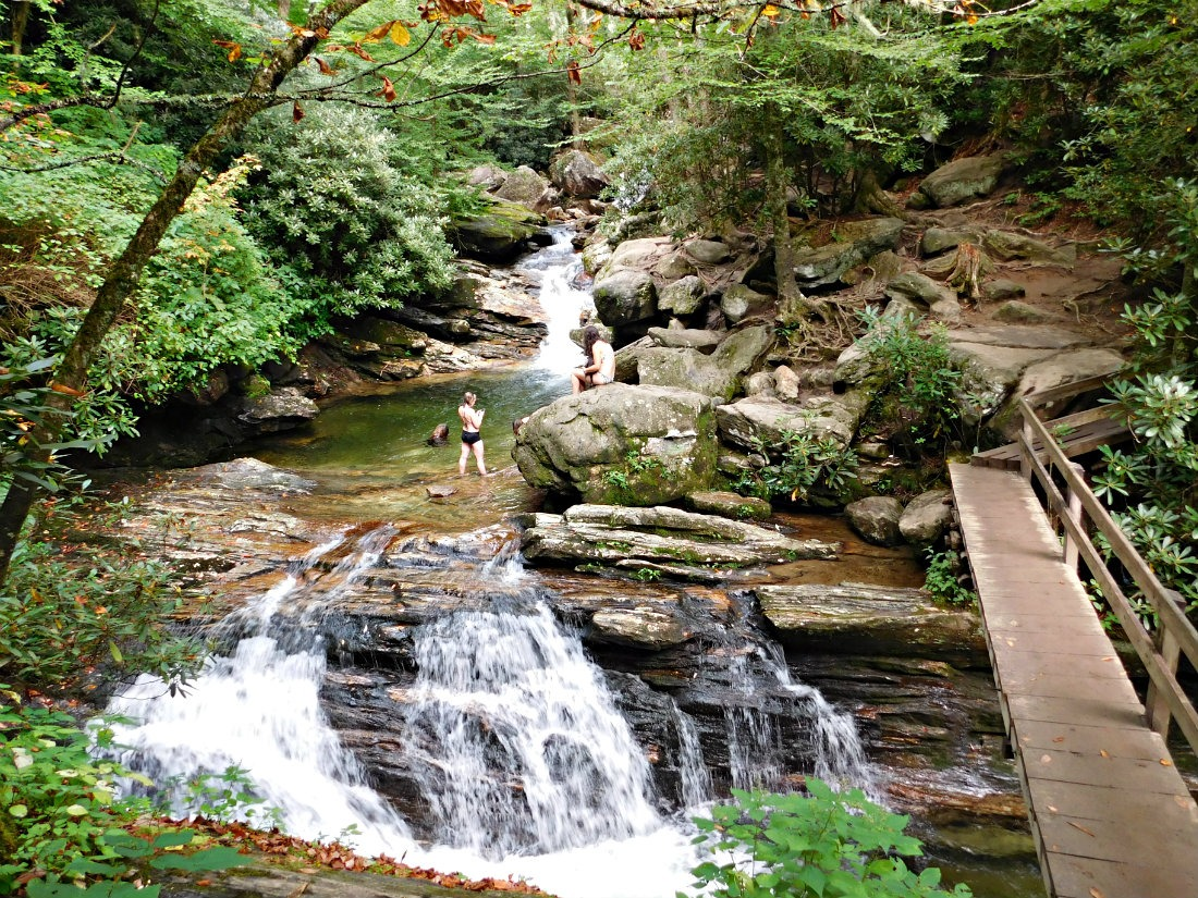 Hiking to Skinny Dip Falls in North Carolina during month thirty eight of Digital Nomad Life
