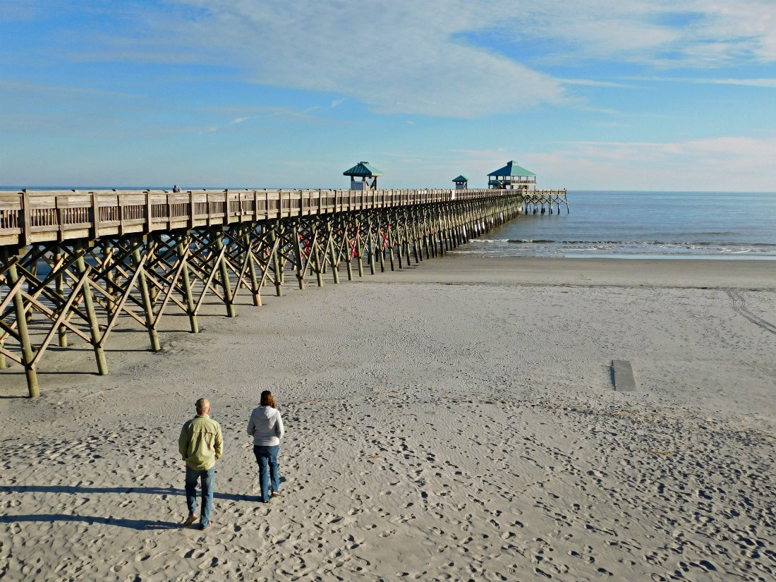 Folly Beach and pier in South Carolina