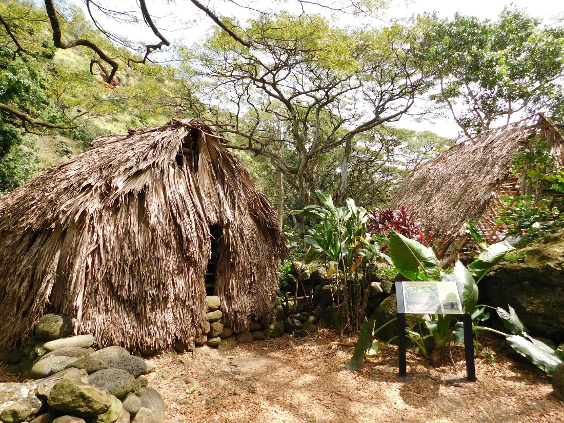 Recreated Hawaiian Village in Waimea Valley on the North Shore of Oahu