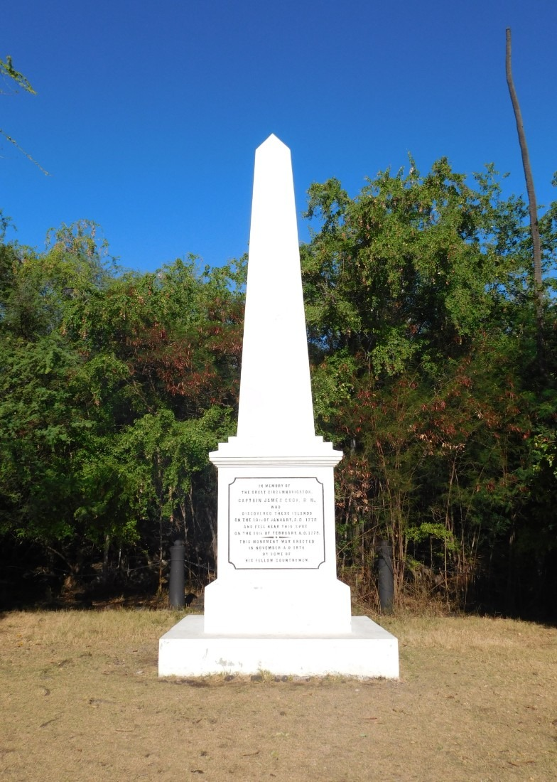 The Captain Cook Monument in Kealakekua Bay on the Big Island