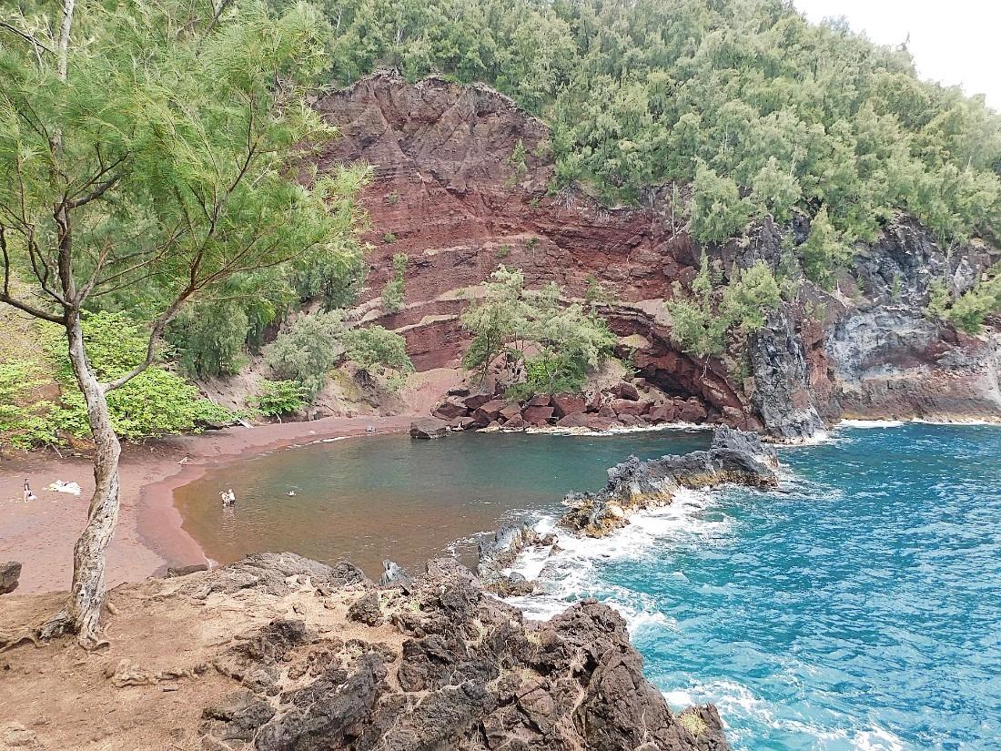 Red sand beach in Hana, Maui