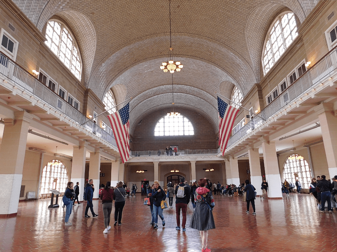 Immigration Hall on Ellis Island in New York