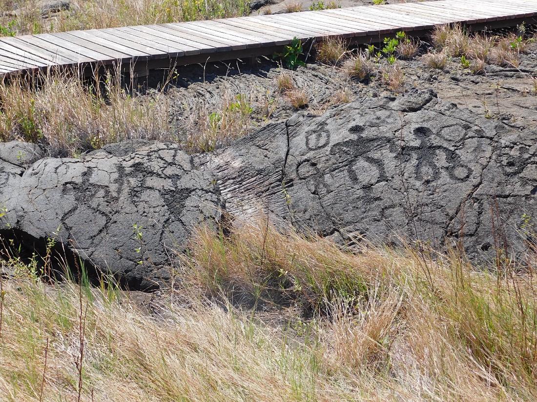Petroglyphs in Hawaii Volcanoes National Park