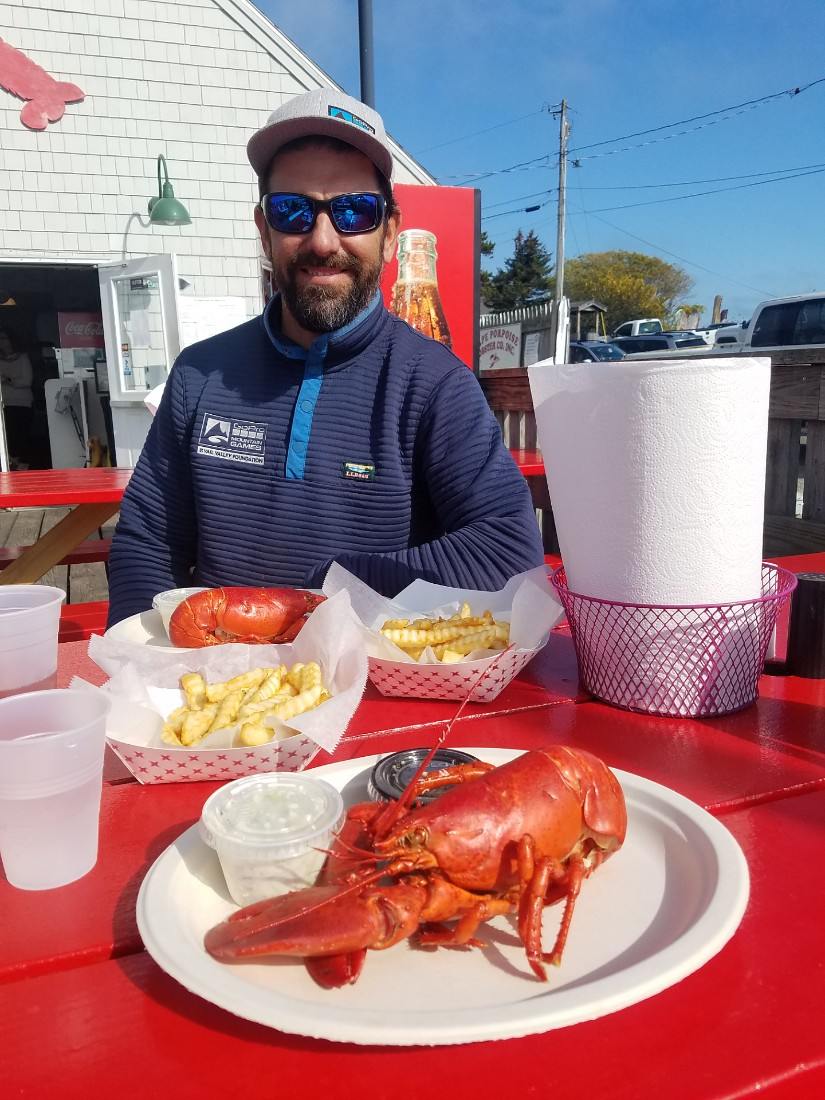 Eating lobster in Maine