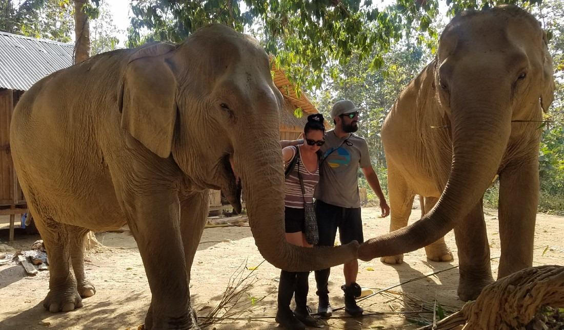 Interacting with elephants at Mandalao in Luang Prabang