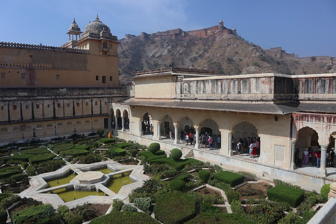 Garden at Amer Fort - one of the most famous monuments of Rajasthan