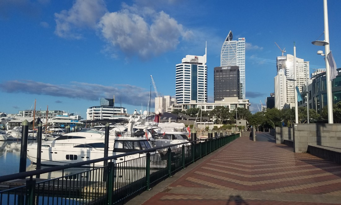 Viaduct Harbor in Auckland during lockdown