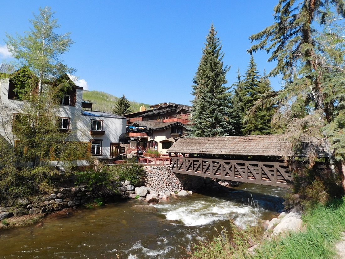 Bridge in over the river in Vail, one of the best mountain towns in Colorado