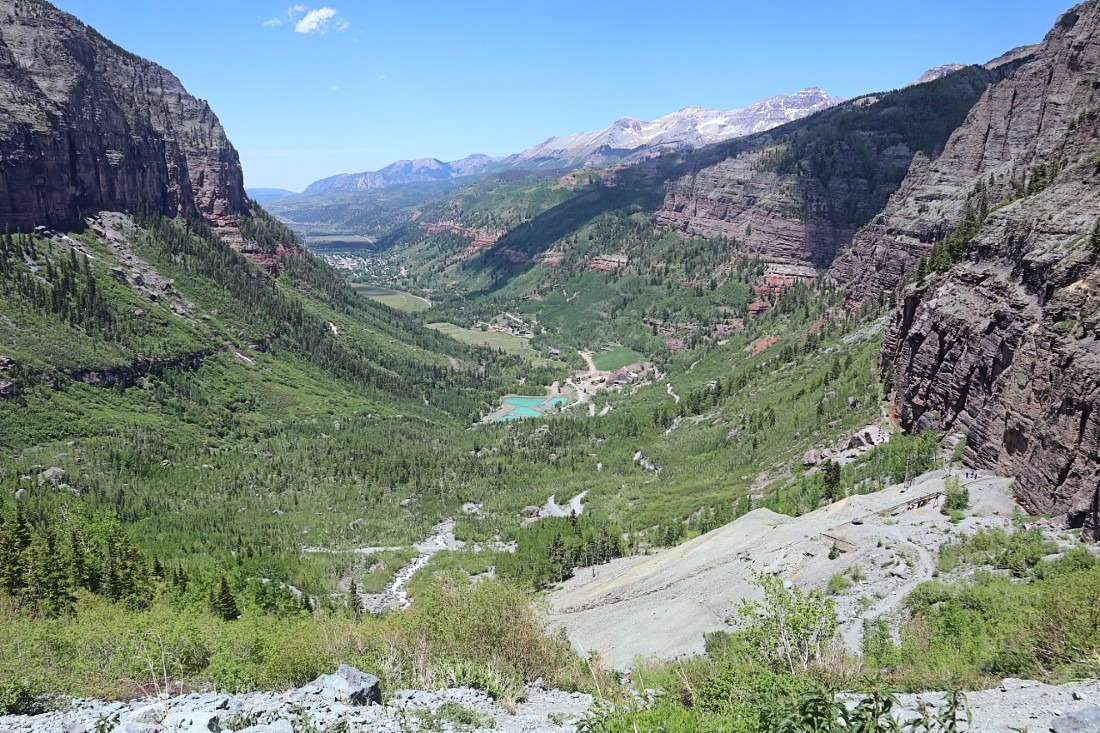 View over Telluride from Bridal Veil falls hike