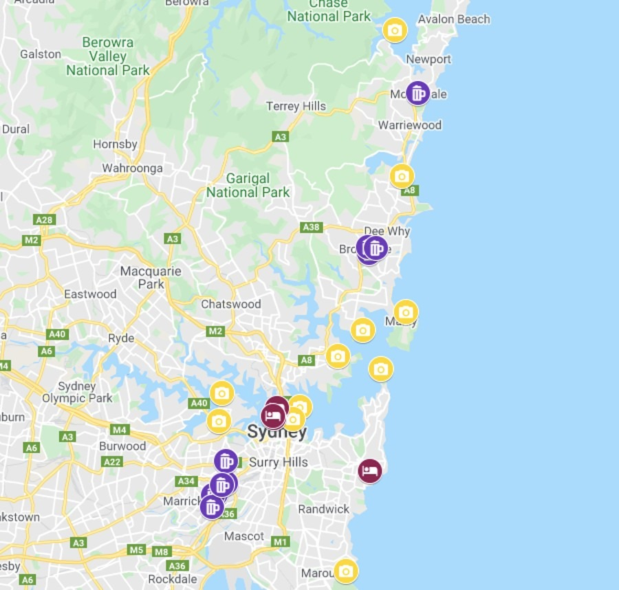 Summer in Sydney Bucketlist Map