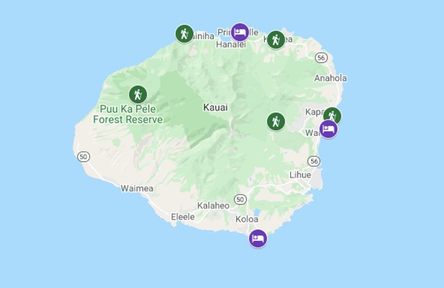 Best Easy Hikes in Kauai Map