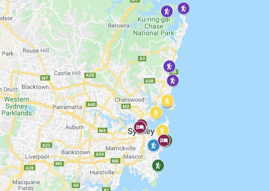 Best Walks in Sydney Map