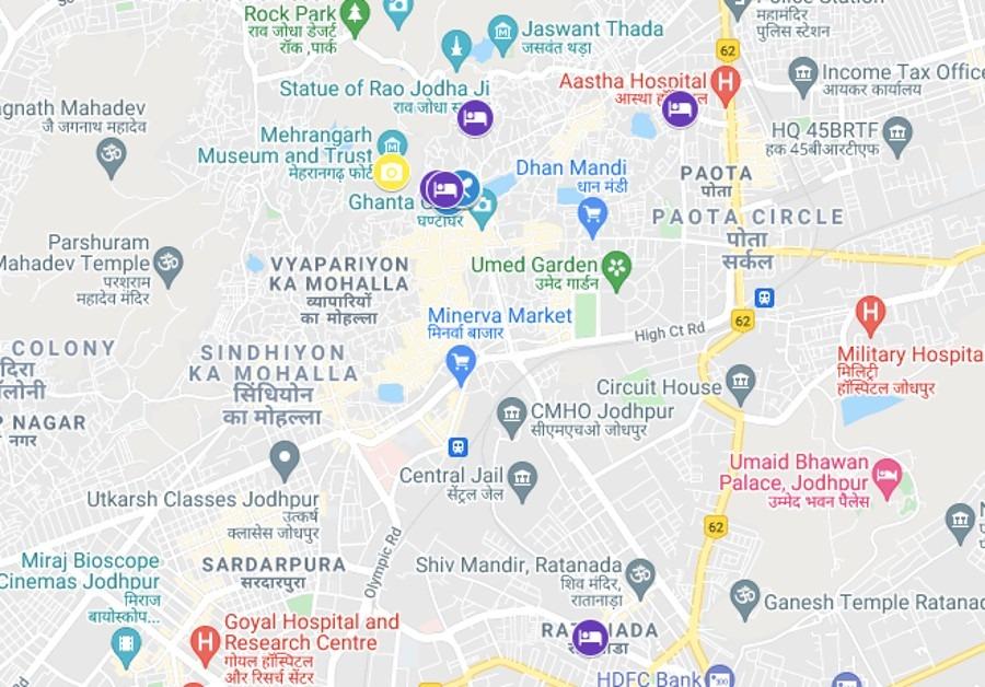 Things To Do in Jodhpur Map