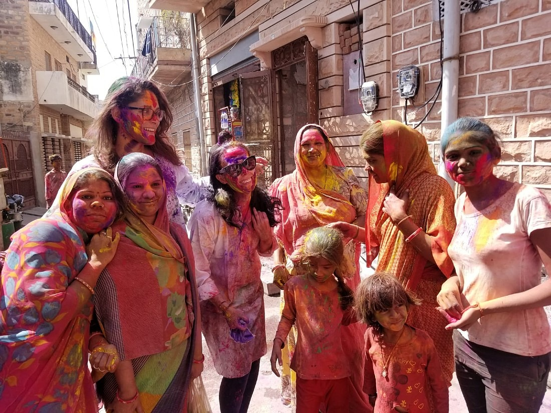 With locals celebrating Jodhpur Holi