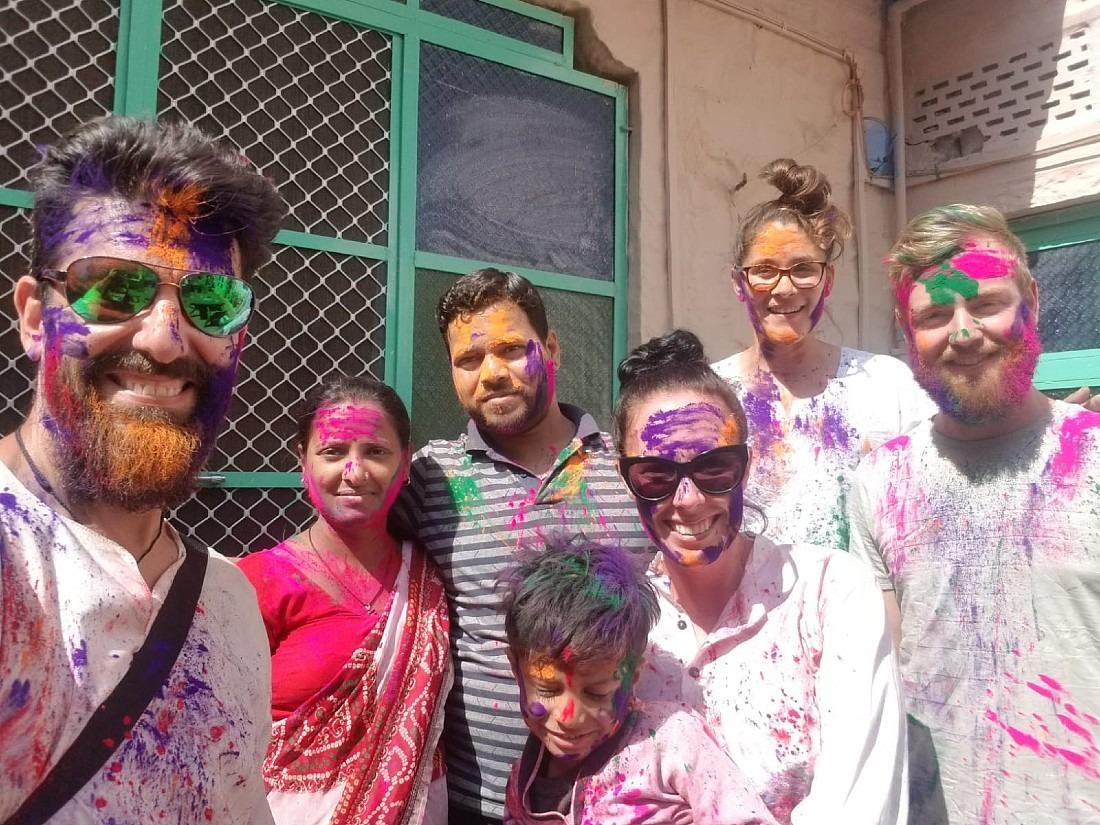 With our host family during Jodhpur Holi