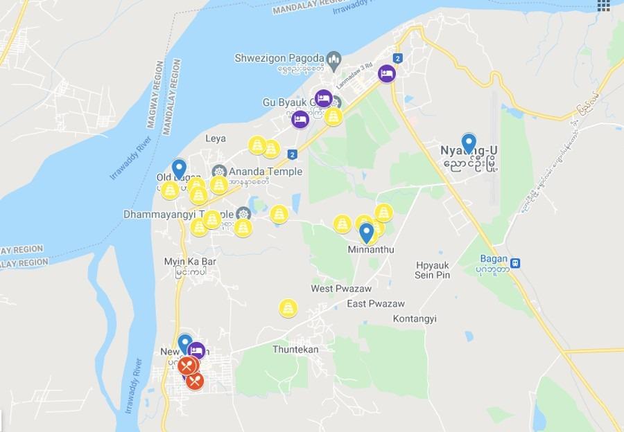 Bagan Pagodas Map