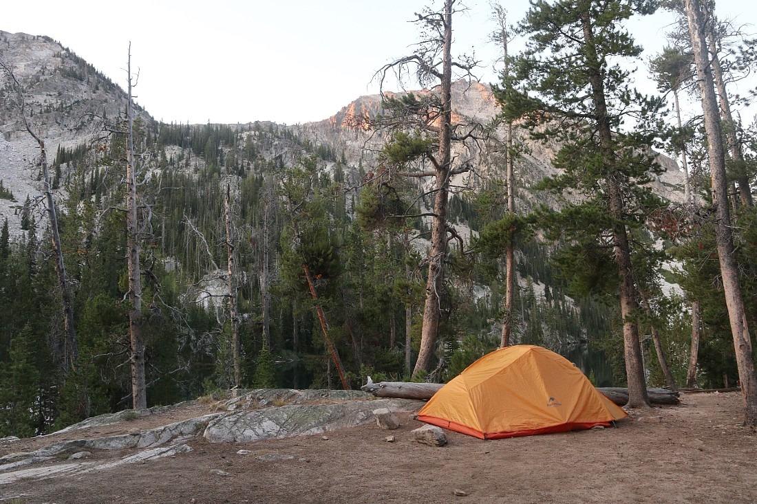 Camping at natural hot springs in Idaho