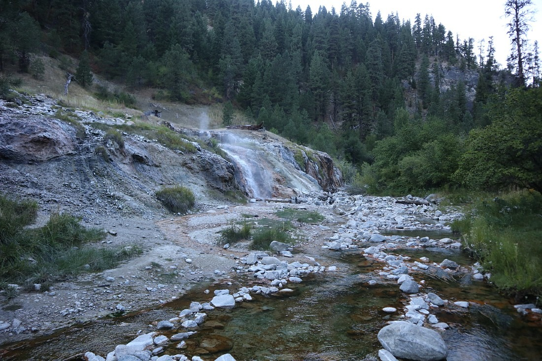 Hot waterfall at Bonneville Hot Springs