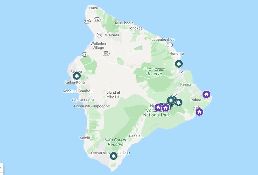 Best Hawaii Tree Houses Map