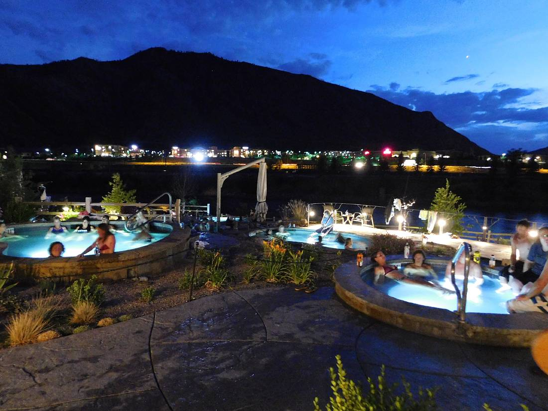 Iron Mountain Hot Springs in Glenwood Springs at night