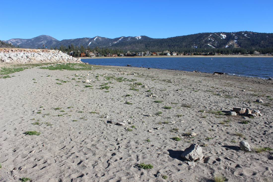 Sandy beach on Big Bear Lake in summer