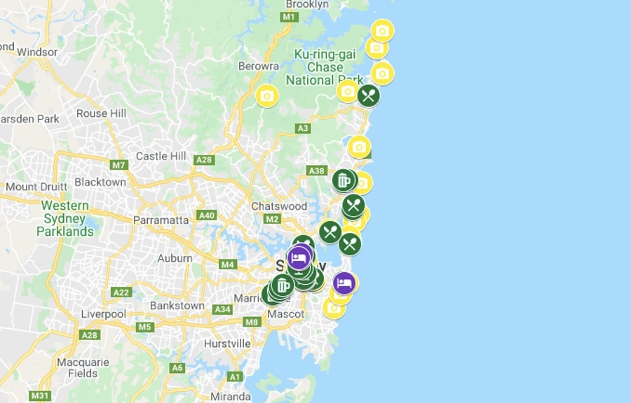 Sydney Itinerary Map