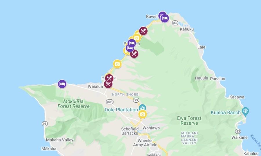 North Shore Oahu Map