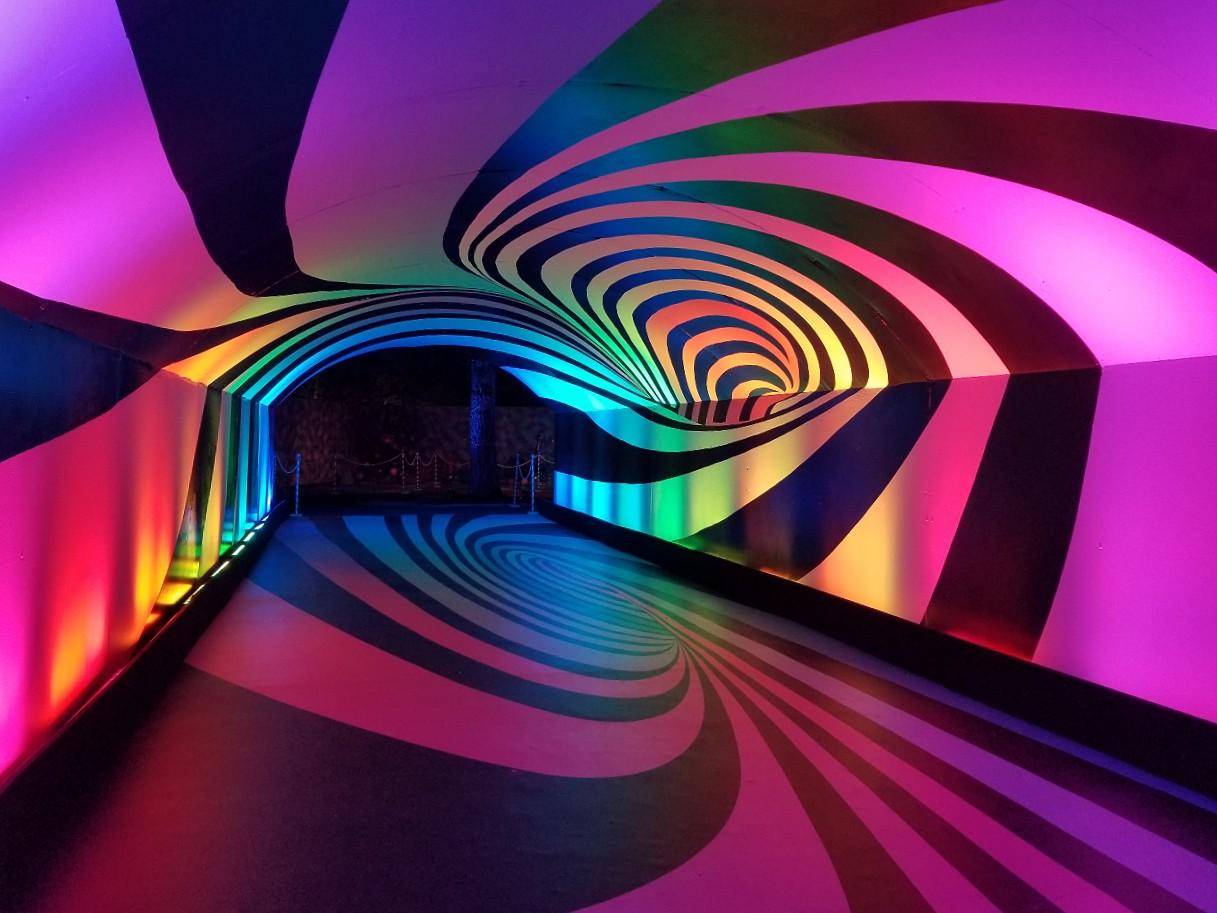 Light tunnel at Sugar Rush in LA