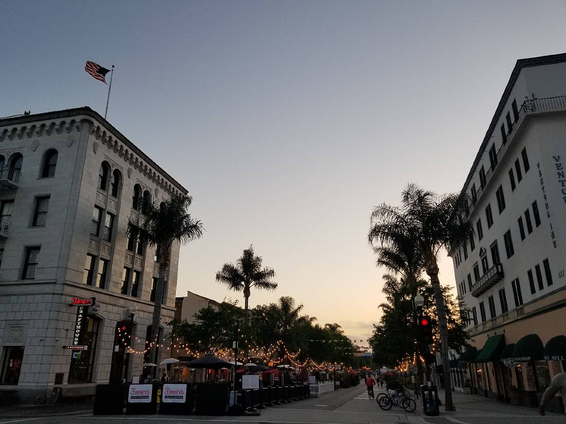 Ventura downtown in evening