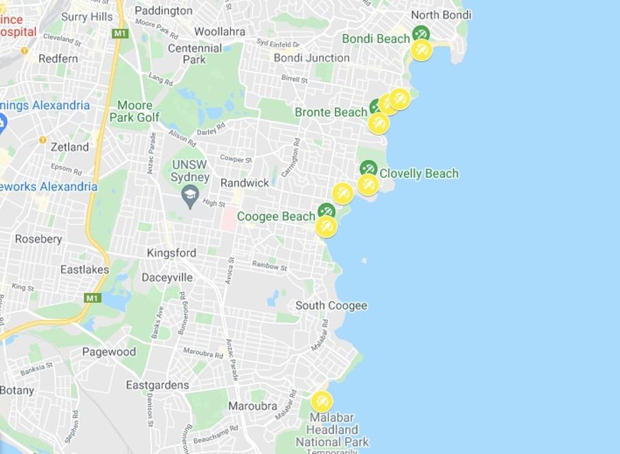Eastern Suburbs Beaches Sydney Map