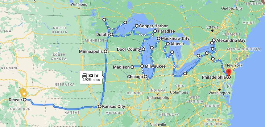 Great Lakes Road Trip map